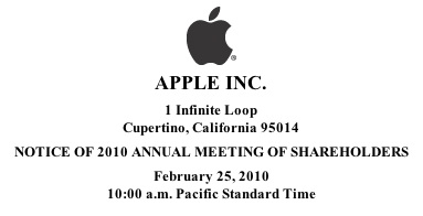 Junta de accionistas de Apple a finales de febrero 3