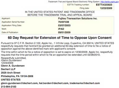 Más evidencia de que Apple quiere registrar el término iPad 3
