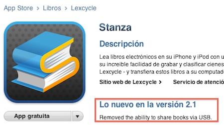 Apple pone coto a los libros y elimina el compartirlos por USB mediante Stanza 3
