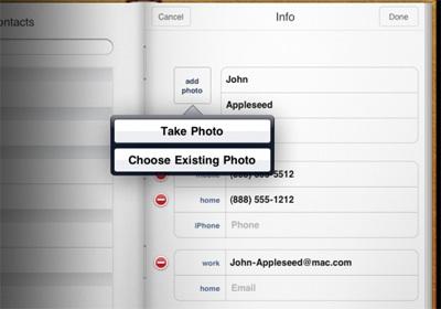 Apple elimina del SDK la posibilidad de hacer fotografías desde la Agenda del iPad 5