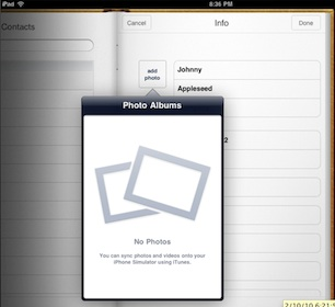 Apple elimina del SDK la posibilidad de hacer fotografías desde la Agenda del iPad 6