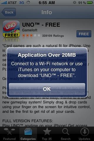 Apple duplica el límite de descargas de aplicaciones o vídeo vía 3G 3