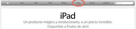 El iPad ahora aparece en la web de Apple con su propia categoría 3