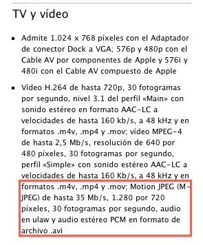 Aparecen más características técnicas del iPad, en cuanto a vídeo y audio 3