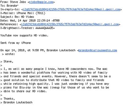 Steve Jobs se resiste a incorporar la reproducción de vídeo en formato Blu-Ray a sus ordenadores 3