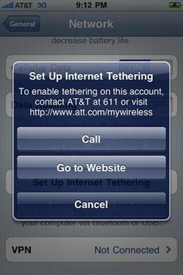AT&T dice que no ofrecerá tethering en el iPhone a corto plazo 3