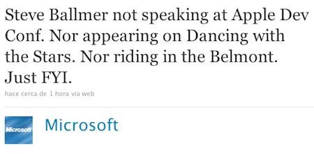 Microsoft asegura que Steve Ballmer no asistirá a la WWDC 3