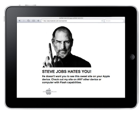 Un entusiasta de Flash envía un mensaje oculto a Steve Jobs desde la plataforma iPhone OS 3