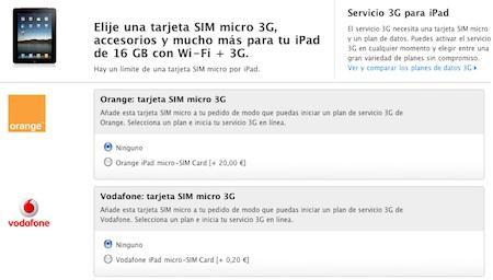 Apple España vende junto al iPad tarjetas SIM micro de Orange y Vodafone 3