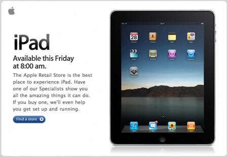Las Apple Store europeas venderán el iPad a partir de las 8:00h del viernes 3