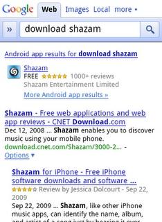 Google añade las apps de la app store a los resultados de Mobile Search 3