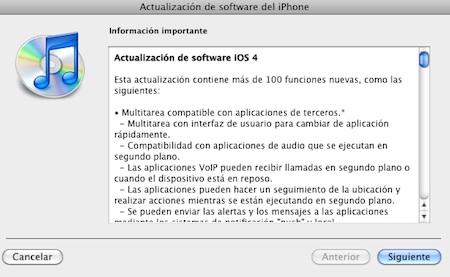 Ya está disponible la actualización iOS 4 para iPhone e iPod touch 3