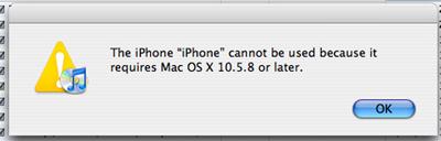 El iPhone 4 necesita Mac OS X 10.5.8 para sincronizar 3