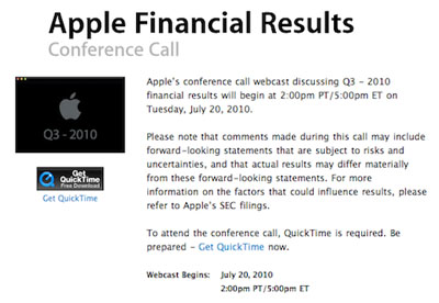 Apple presentará los resultados financieros del 3er. Trimestre fiscal del 2010, el 20 de Julio 3