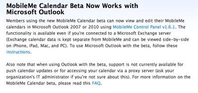 La WebApp de MobileMe Calendar será compatible con Microsoft Outlook 3