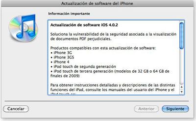 Apple libera el iOS 4.0.2 para el iPhone y el 3.3.2 para el iPad 3