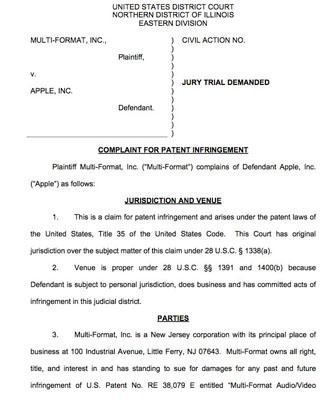 Nueva demanda contra Apple afirma que el contenido en vídeo de iTunes viola una patente 3