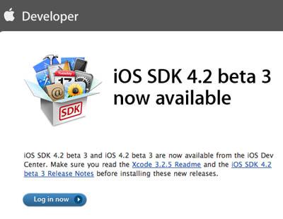 Ya están disponibles iOS 4.2 Beta 3 e iTunes 10.1 Beta 2 para desarrolladores 3