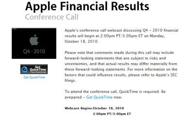 Apple presentará los resultados financieros del cuarto trimestre fiscal del 2010 el 18 de Octubre 3