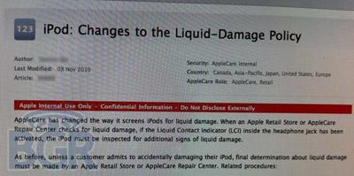 Apple cambia las políticas de revisión de los sensores de humedad en los iPod 3