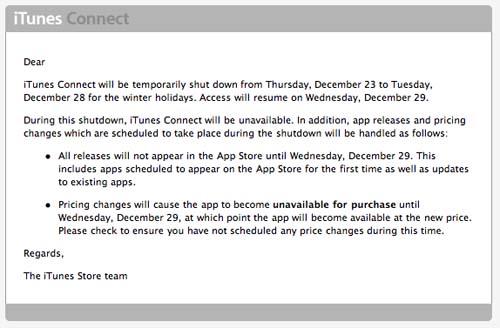 Del 23 al 28 de Diciembre no habrá actualizaciones ni nuevas aplicaciones en la App Store 3