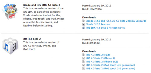 El iOS 4.3 Beta 2 ya está disponible para descarga 3