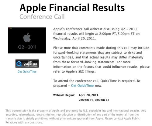 Apple presentará los resultados fiscales del Segundo Trimestre Fiscal del 2011 el 20 de Abril 3