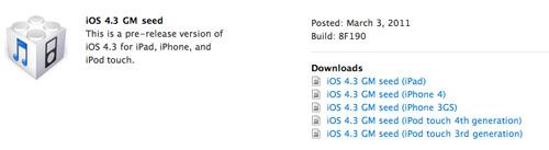 Ya está disponible el iOS 4.3 Gold Master 3