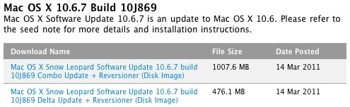 Apple distribuye la Build 10J869 de Mac OS X 10.6.7 entre los desarrolladores 3