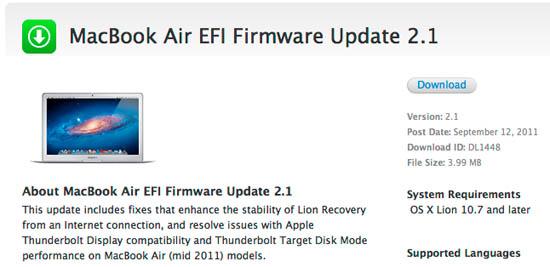 El EFI Firmware 2.1 corrige los problemas del Thunderbolt con las MacBook Air más recientes 3