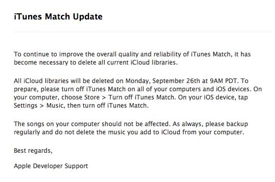 Apple borrará la información del iTues Match el próximo Lunes 26 de Sptiembre 3