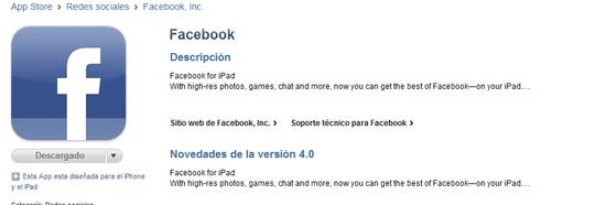 Finalmente Facebook para iPad es oficial 3
