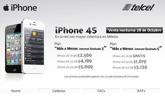 Telcel en México anuncia la venta nocturna del iPhone 4S 3