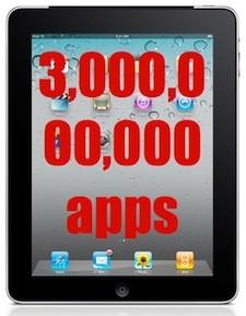 3 billones de aplicaciones descargadas para el iPad 3