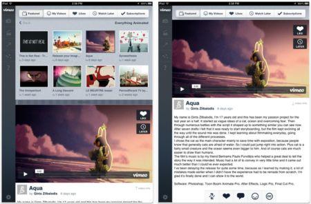 Vimeo estrena actualización para iPad con IU especializada 3