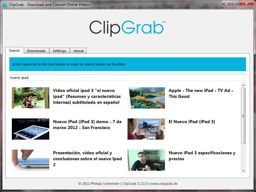 Descargar vídeos desde Youtube, Vimeo y más con ClipGrab 3