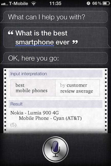 Siri cree que el mejor smartphone es el Nokia Lumia 900 3