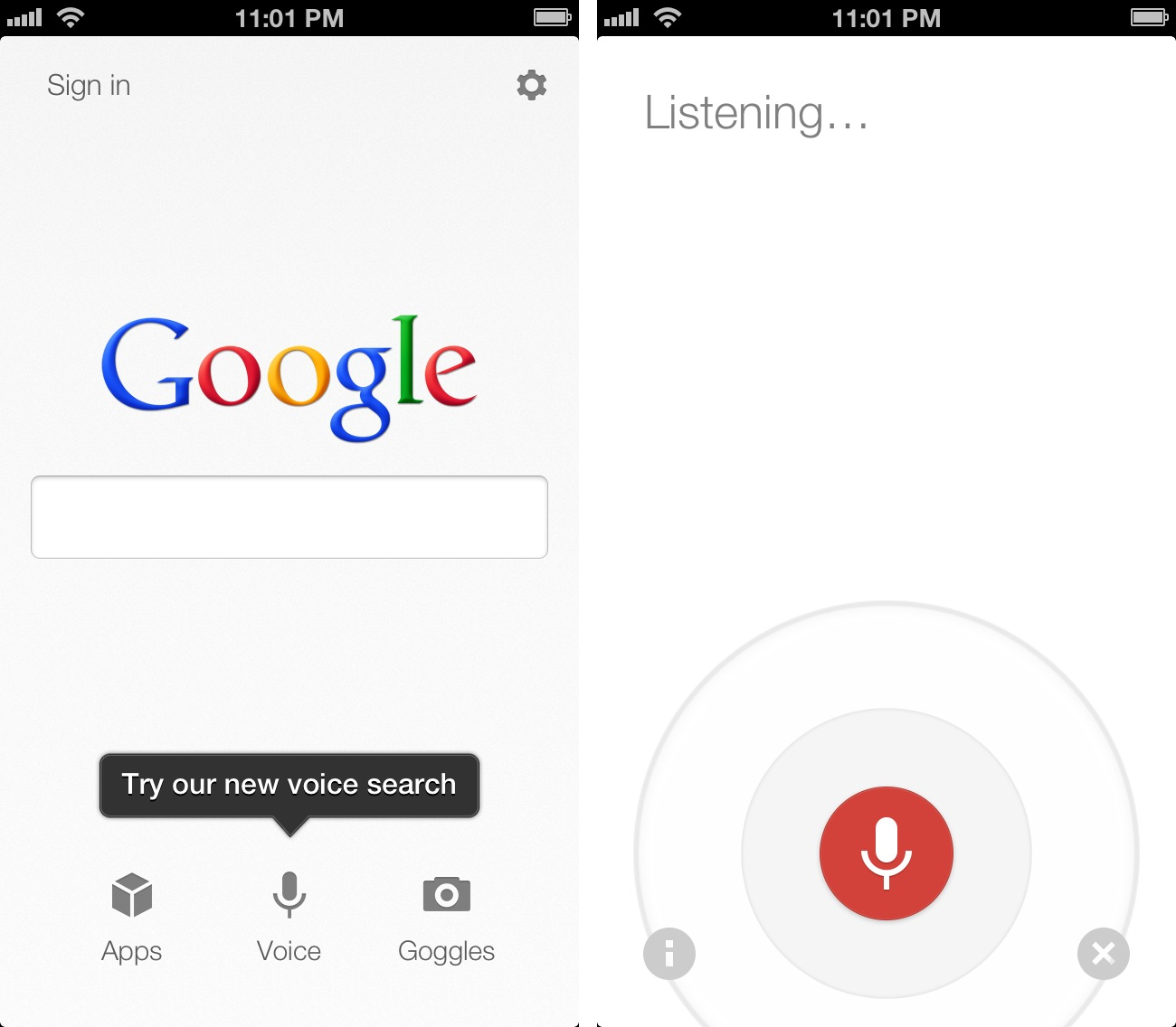 Google Voice Search iOS