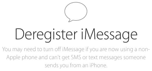 Deregister iMessage, cancela el servicio de mensajes desde la web 2