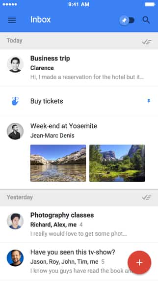 Inbox, nueva app de correo de Google en iPad 2