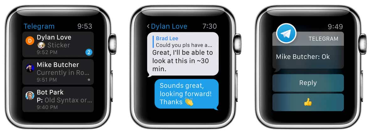 telegram en el apple watch