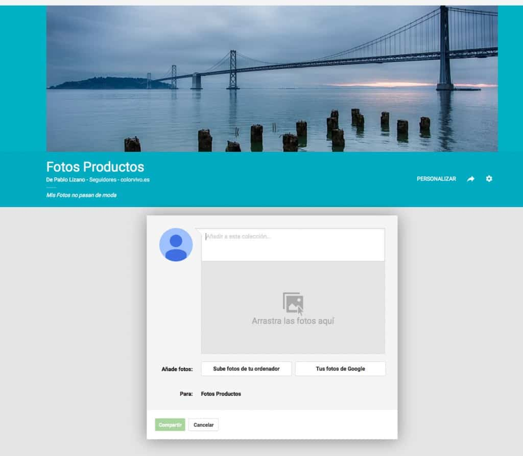 Panel de Google + al añadir foto con Collections
