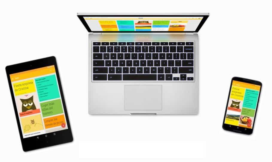 Google Keep siendo utilizado en portatil, móvil y tablet