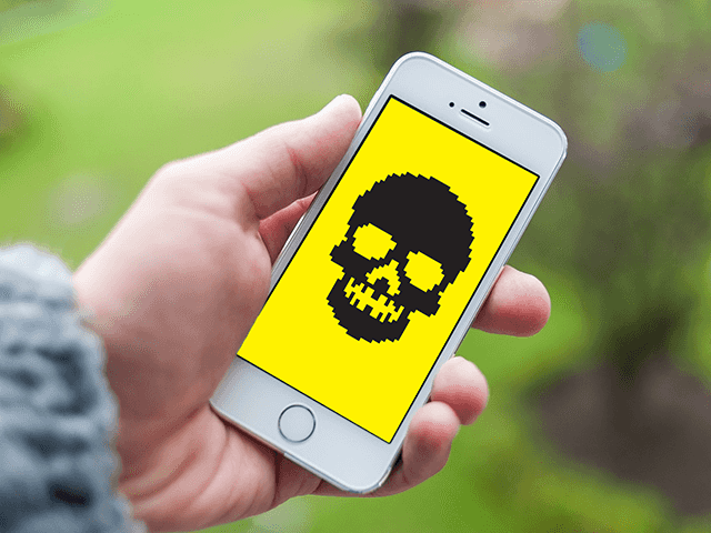 malware en iphone 6 blanco