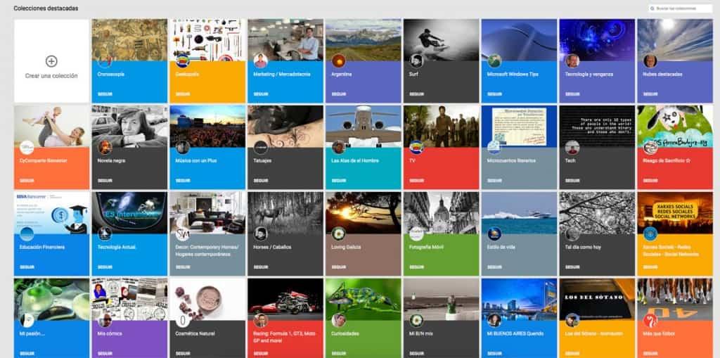 Tableros Collections en Google +