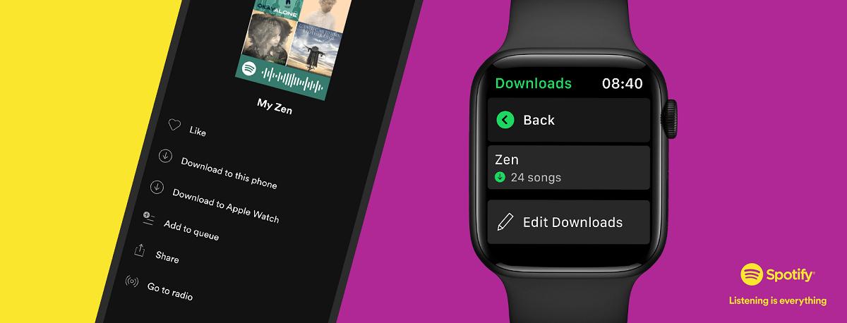 Spotify introduce la función de descarga de música y podcasts en Apple Watch