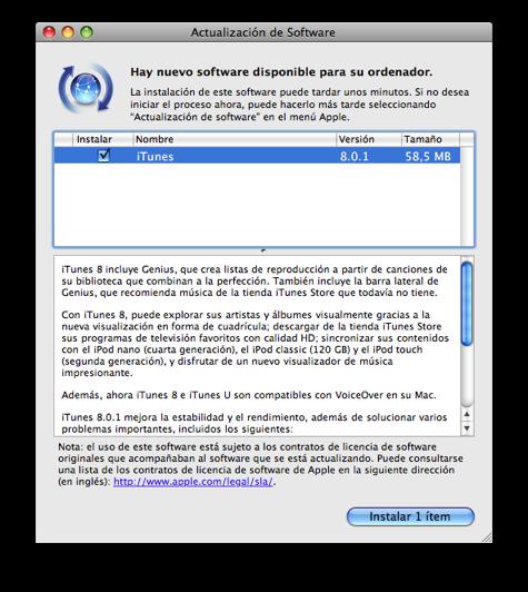 Actualización iTunes 8.0.1
