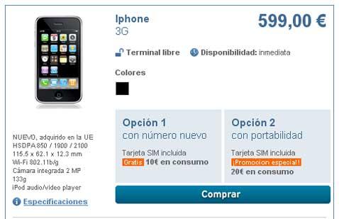 iPhone 3G Libre con Simyo