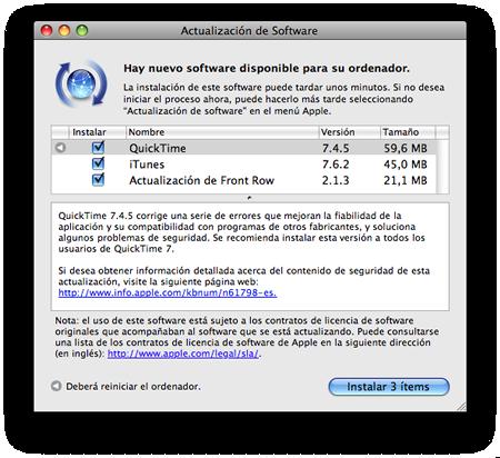 Actualización de software: Quicktime 7.4.5, iTunes 7.6.2 y Front Row 2.1.3 3
